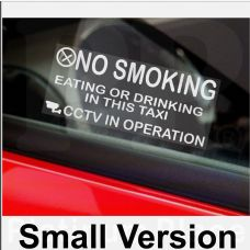 2 x Taxi Minicab Window Stickers-Small Version-No Smoking,Eating,Drinking,CCTV In Operation Warning Hackney Mini Cab Sign